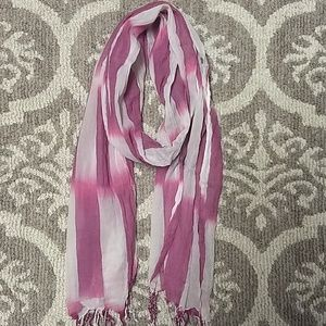 American Eagle pink and white striped scarf